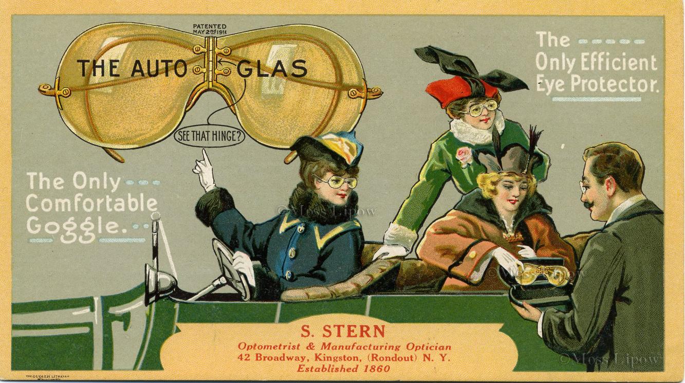 AutoGlas 1911 promotional postcard Motoring Glasses, Motoring Sunglasses, Aviator Sunglasses