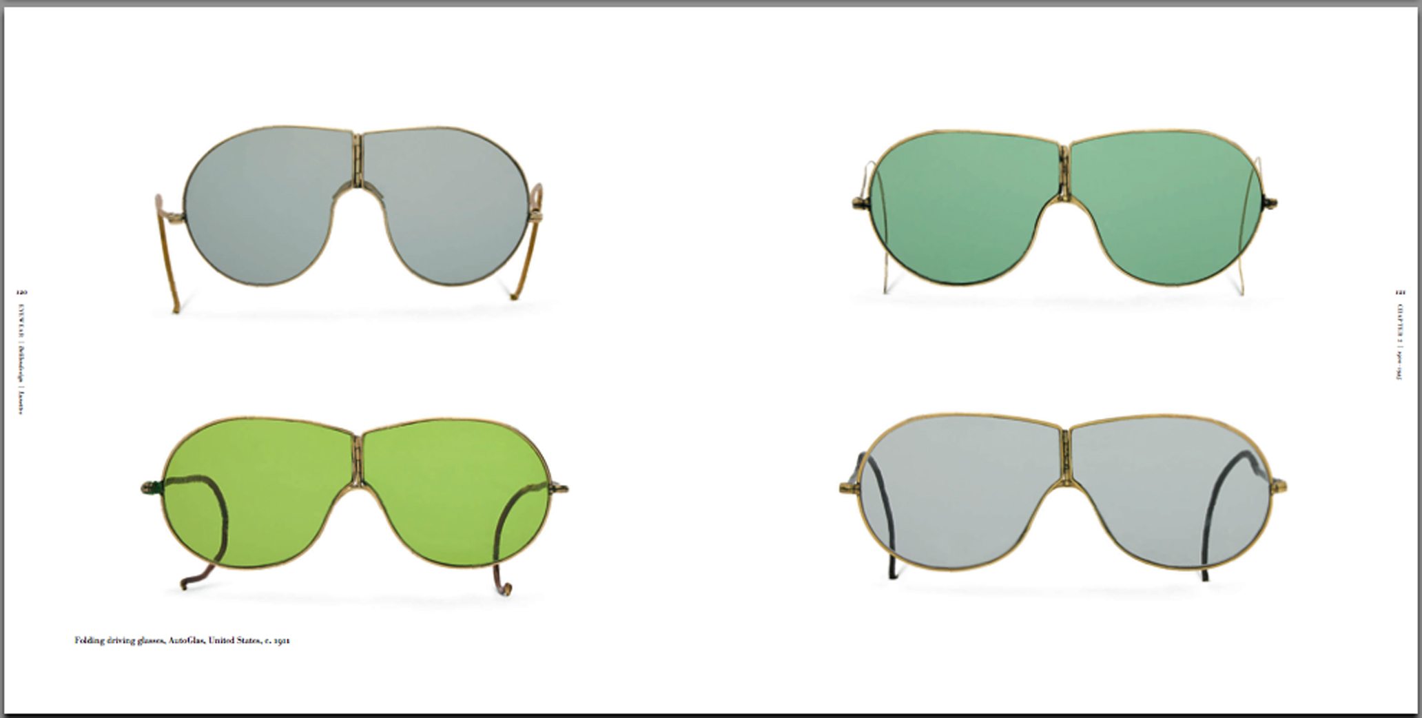 "Images of AutoGlas sunglasses from my book ""Eyewear"".   The one in the upper left hand corner was a smaller size for ladies."