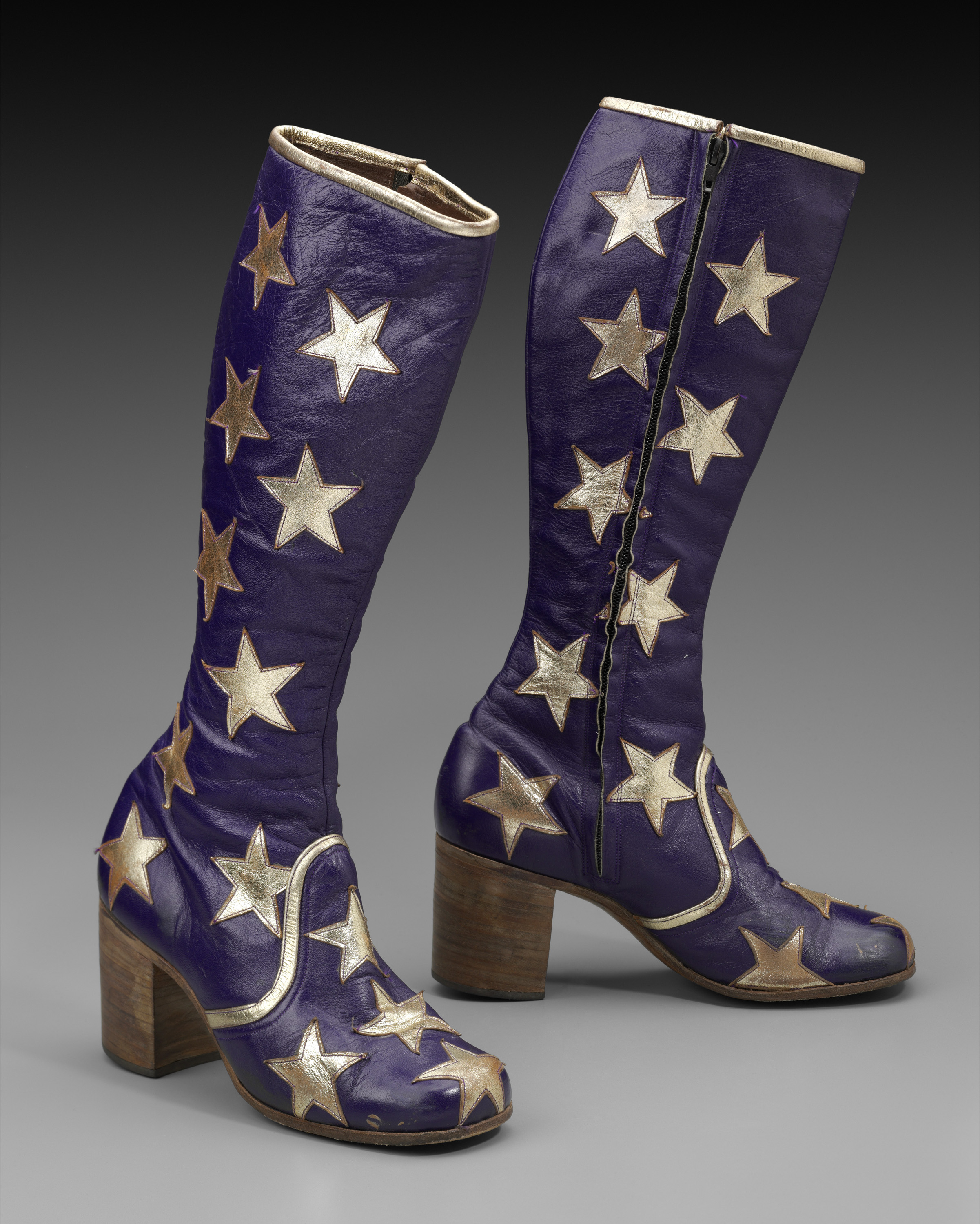 Granny Takes A Trip leather boots in blue with applied white stars.   Joe Cocker took the stage wearing a similar pair during his famous appearance at Woodstock. From the Museum of Fine Arts, Boston (MFA) Hippie Chic exhibition, 2013.