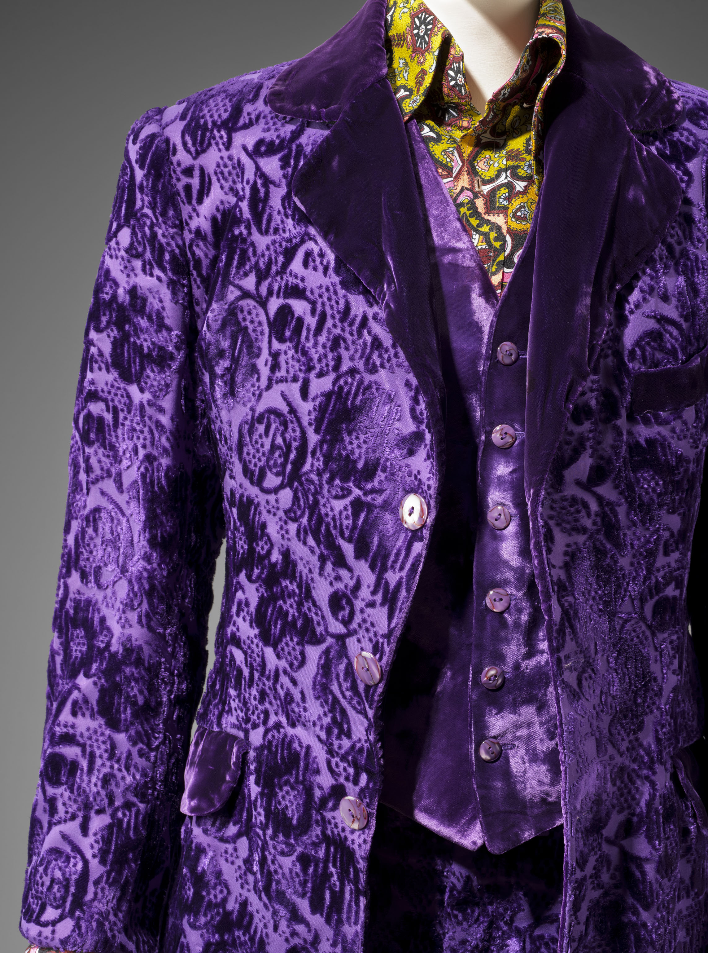 Gene Krell era Granny Takes A Trip three piece suit in purple velvet brocade, from the Museum of Fine Arts, Boston (MFA) Hippie Chic exhibition, 2013