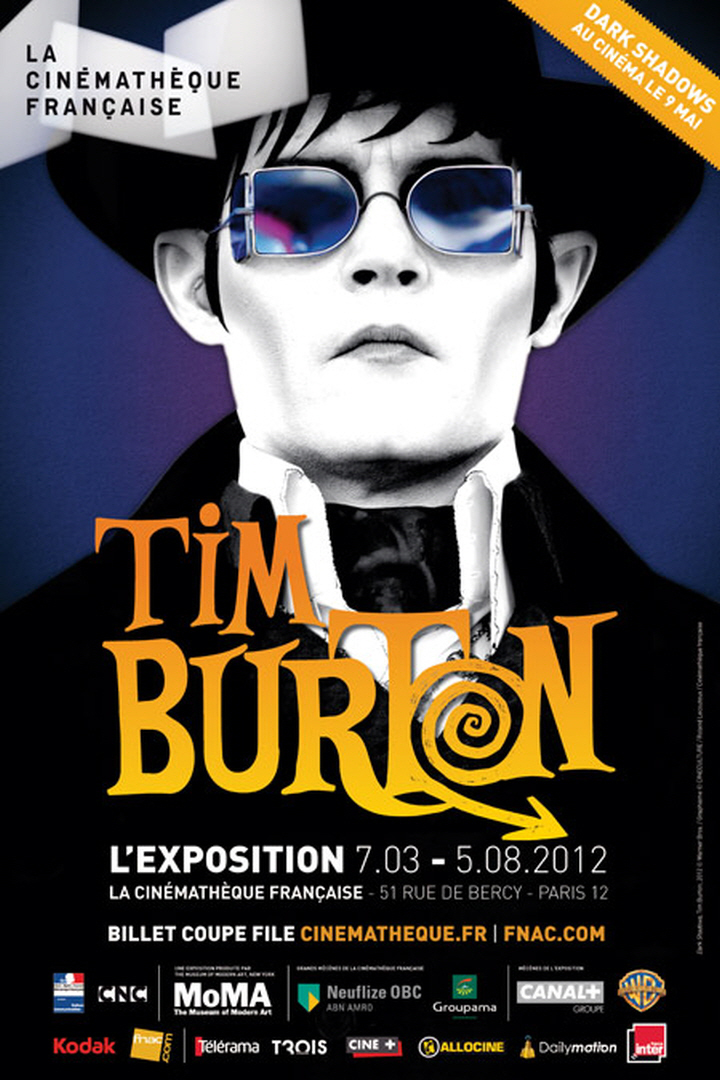Poster for Tim Burton retrospective featuring Johnny Depp channeling Vincent Price