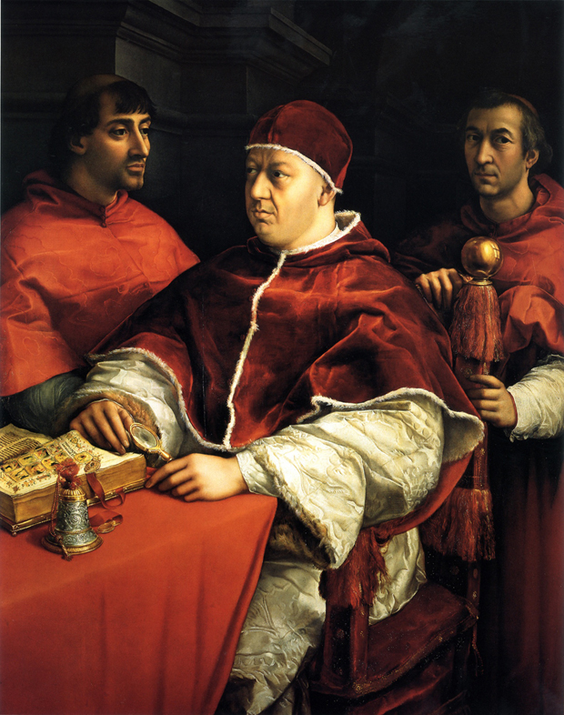 Pope Leo X holding minifier by Raphael