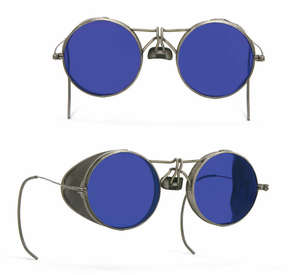 Cobalt lens furnace glasses with unusual bridge, USA circa 1920s