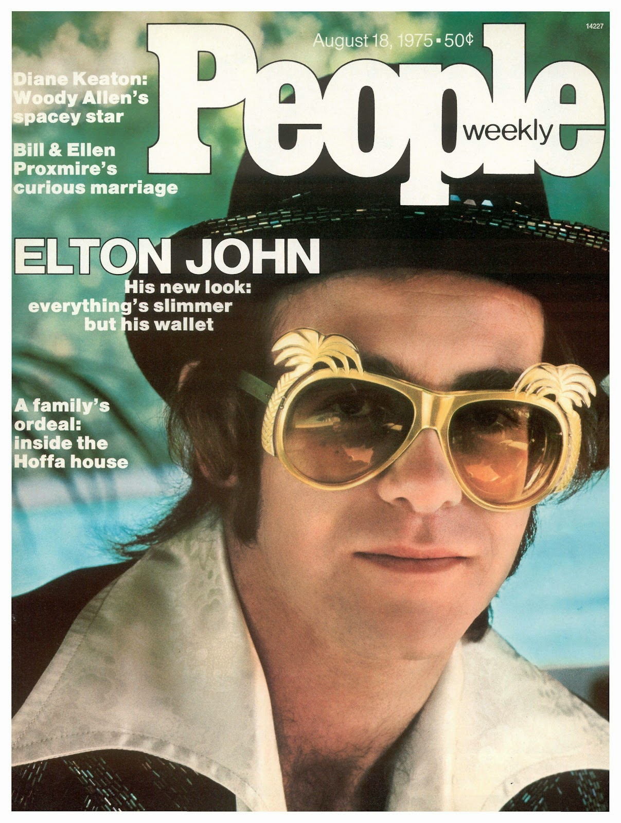 Elton John on the cover of People Magazine, August 18th 1975.   The sunglasses are probably by Anglo American.