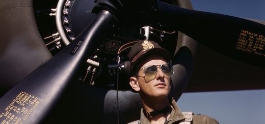 "October 1942. ""Lieutenant 'Mike' Hunter, Army test pilot assigned to Douglas Aircraft Company, Long Beach, California."" 4x5 Kodachrome transparency by Alfred Palmer for the Office of War Information."