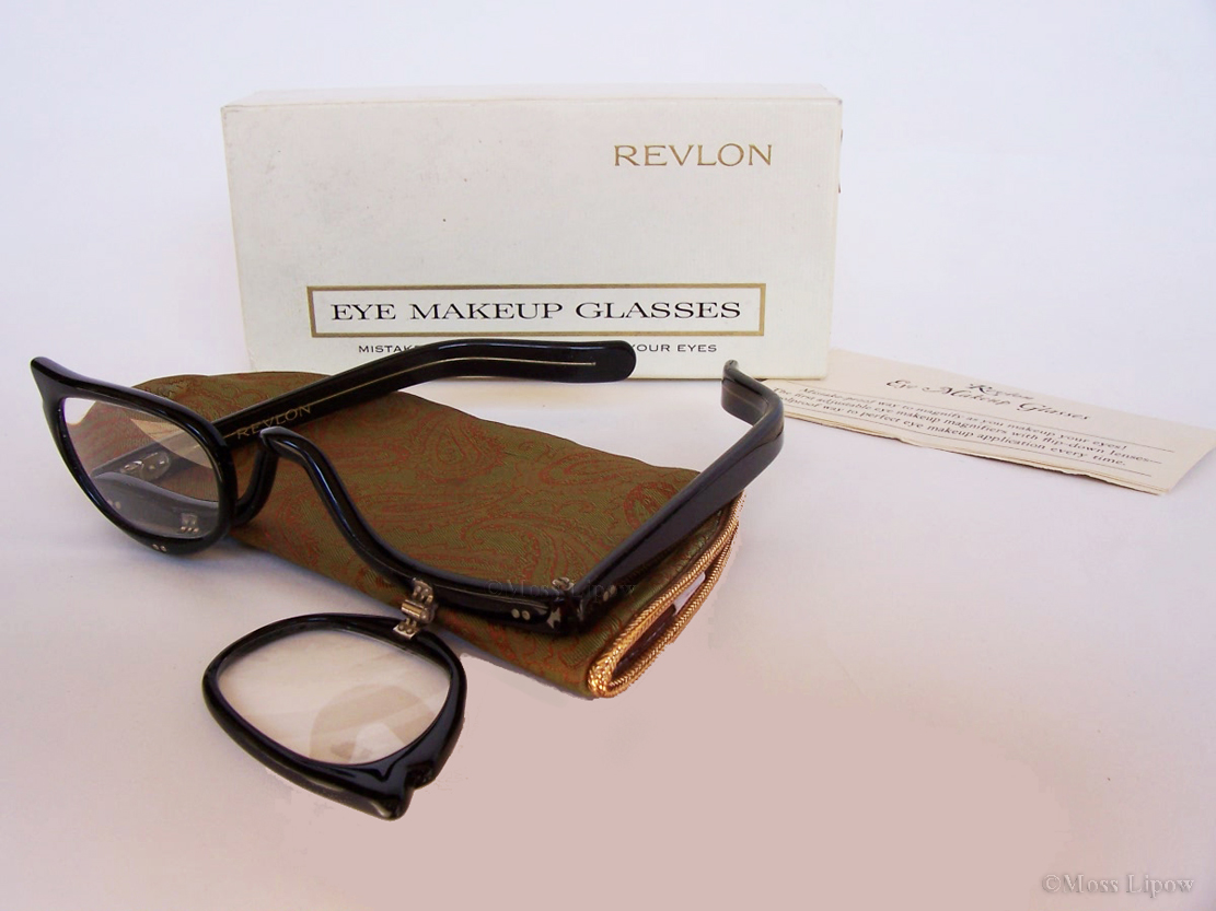 Cat Eye Makeup Glasses by Revlon, circa 1950s.   Each lens is a flip down magnifying glass to ensure makeup is properly applied.