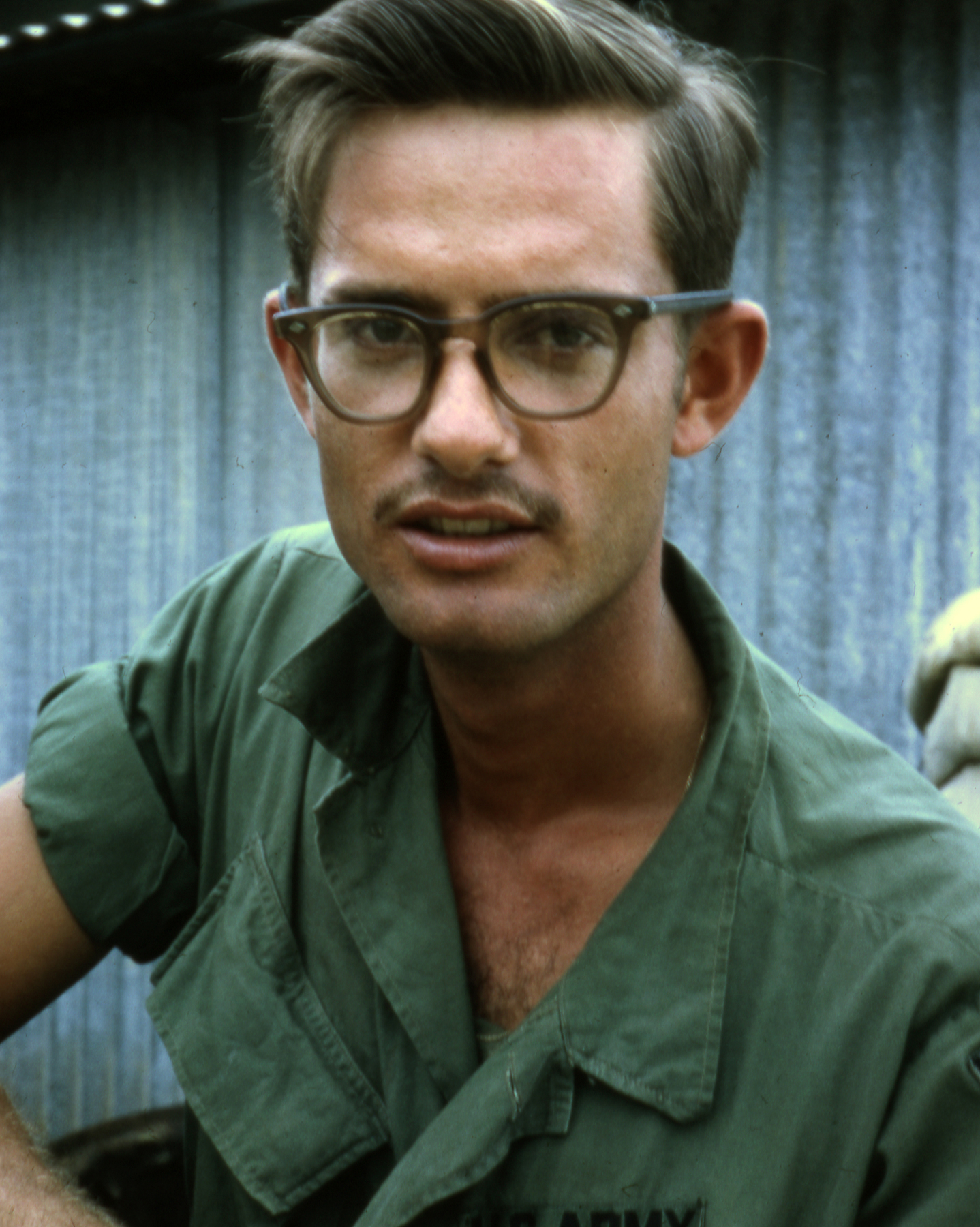 "U.S. Army soldier wearing ""Birth Control Glasses"" circa 1968.   Image sourced from Wikipedia."