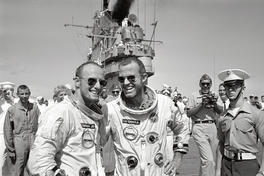 "Gordon Cooper and Charles ""Pete"" Conrad, back from orbiting the earth."