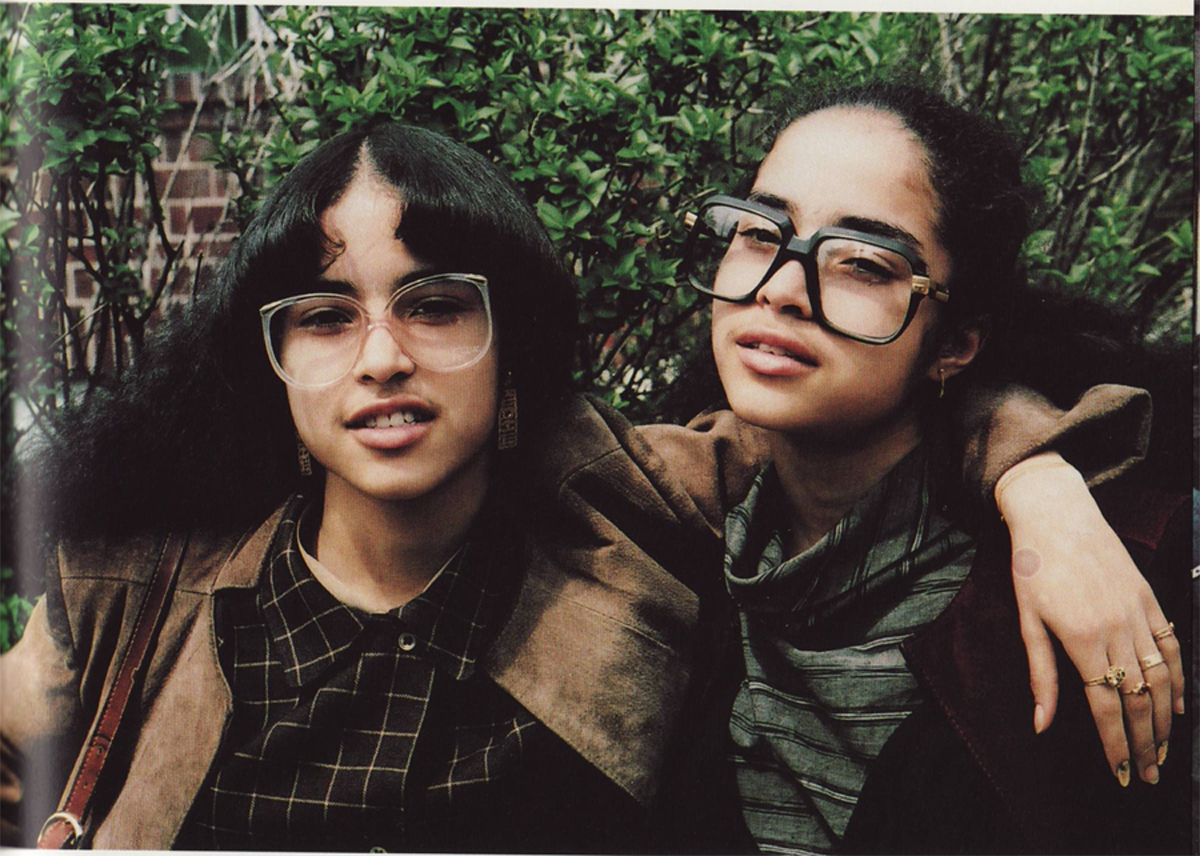 The girl on the right wears a pair of Cazal 607 with plano lenses. Photo by Jamel Shabazz.