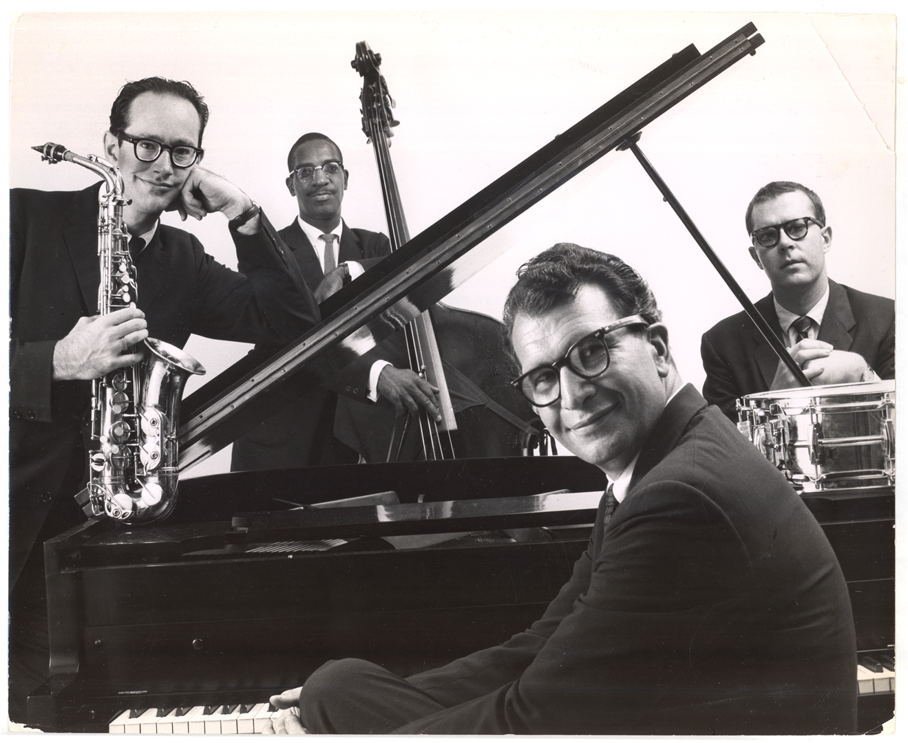 From left: Paul Desmond, Eugene Wright, Dave Brubeck and Joe Morello.   The Dave Brubeck Quartet, all in eyeglasses.