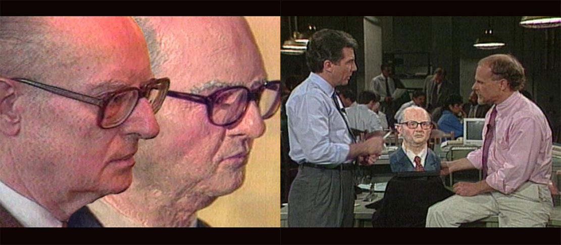 John List's real head superimposed over the Frank Bender sculpture at left; at right Sculptor Frank Bender discusses the case on America's Most Wanted.