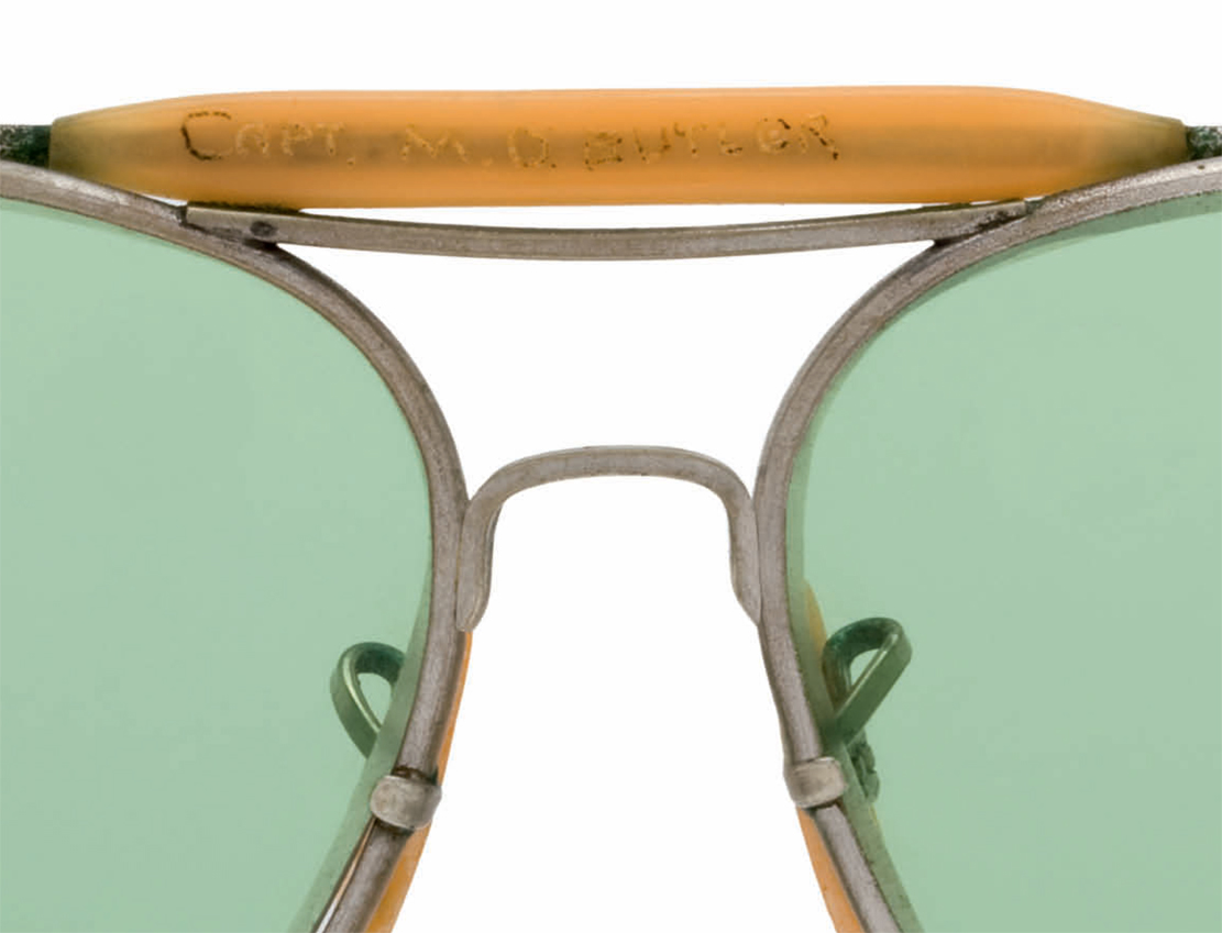 Captain M.D. Butler inscribed his name on the brow bar of these WWII aviator sunglasses.