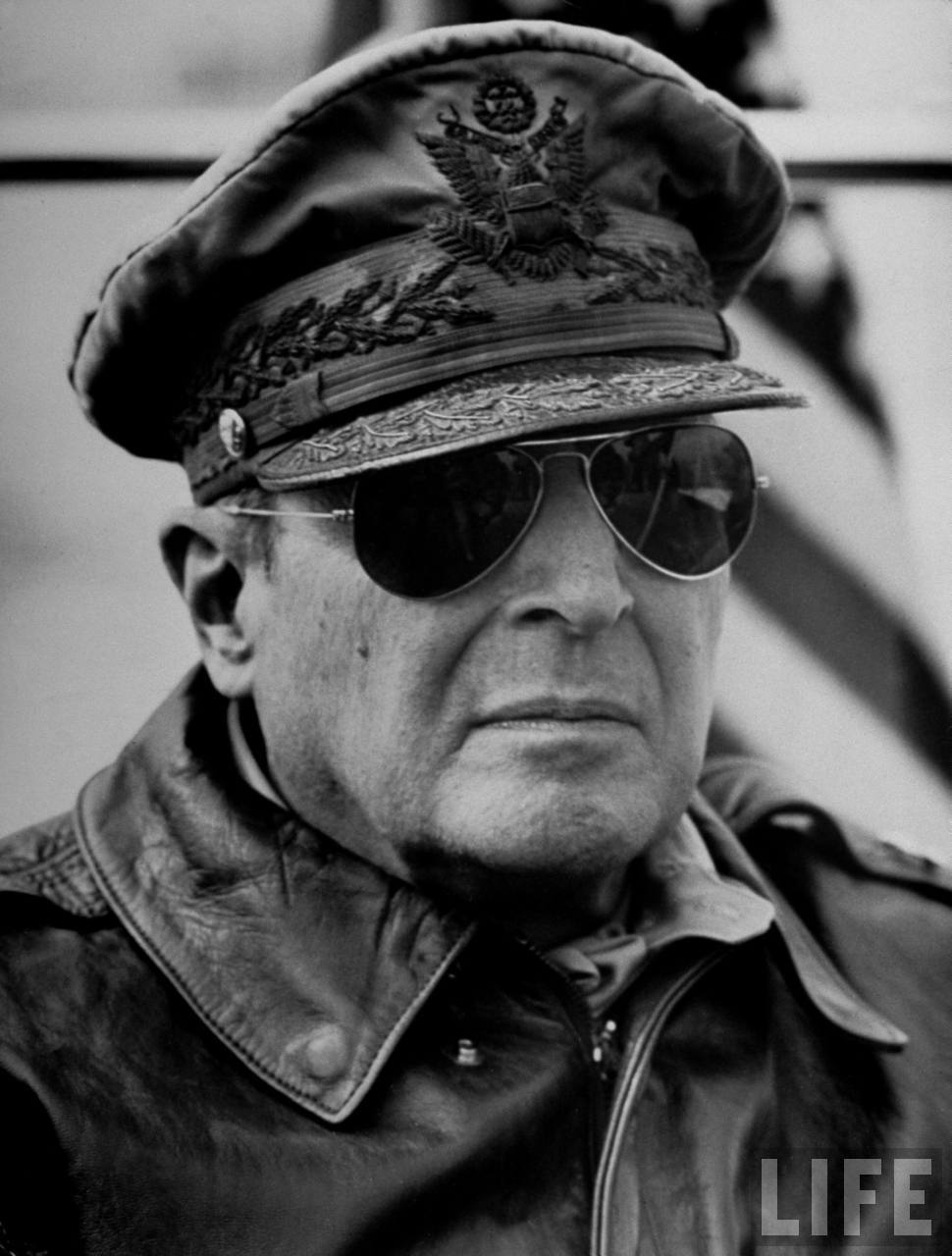 General Douglas MacArthur in AN6531 Sunglasses and A2 aviator jacket.   Photo from Life magazine.