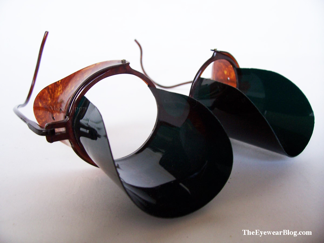 Celluloid eyeglasses with tunnel visor, circa 1920s.