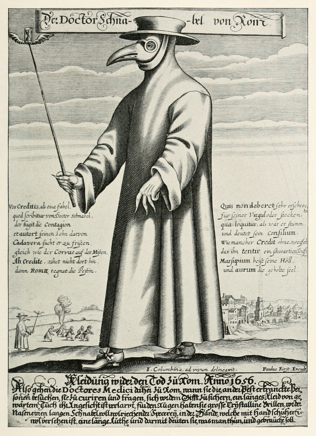 Plague Doctor circa 1656.   A possible inspiration for the Bollé sunglasses with integral nose.