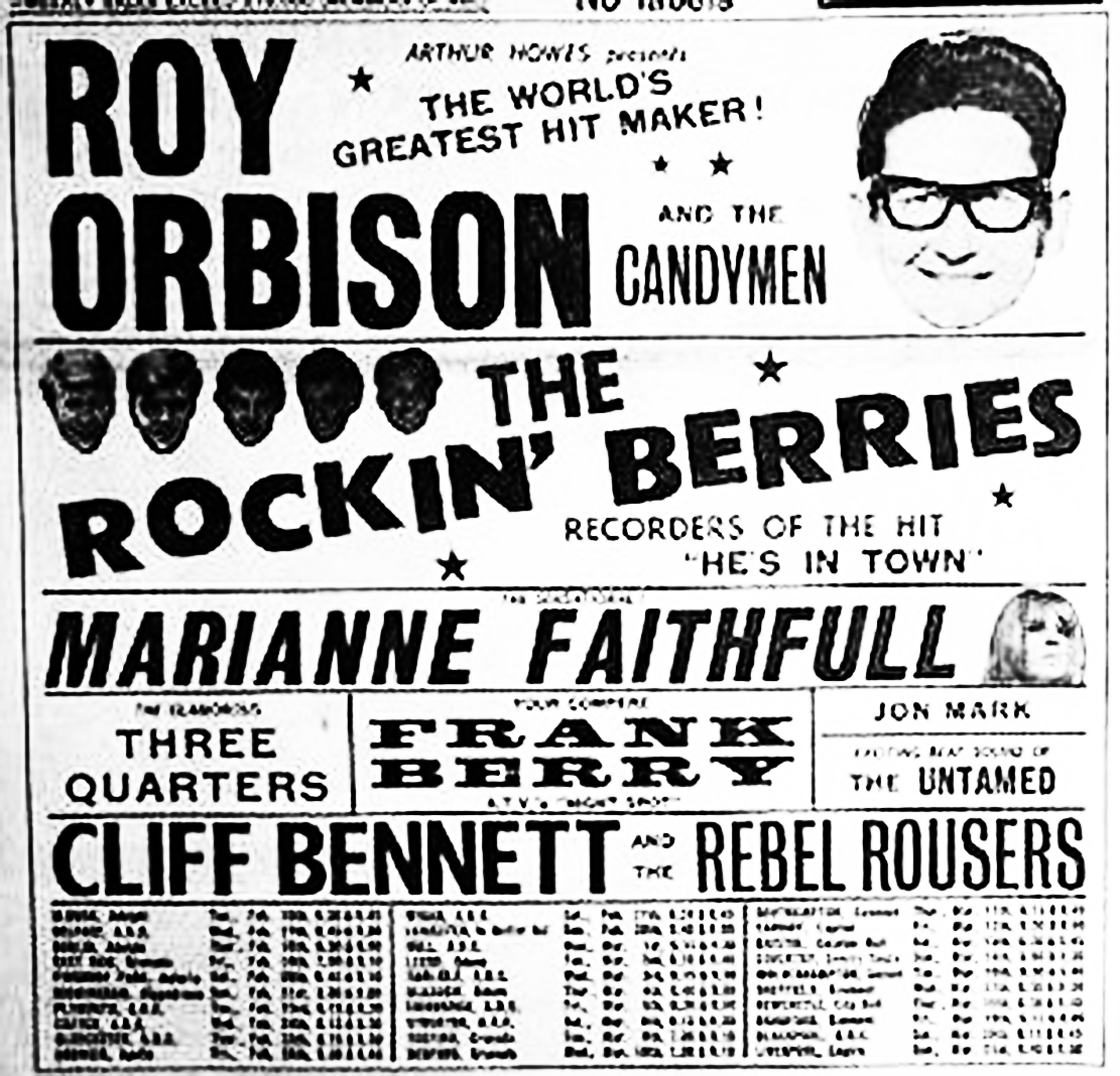 February 1965 Ad for Orbison/Faithfull package tour sourced from http://www.edinburghgigarchive.com.
