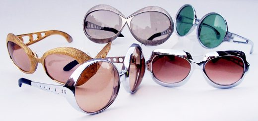 A group of 5 metal plated, Space Age design vintage sunglasses, circa 1970.