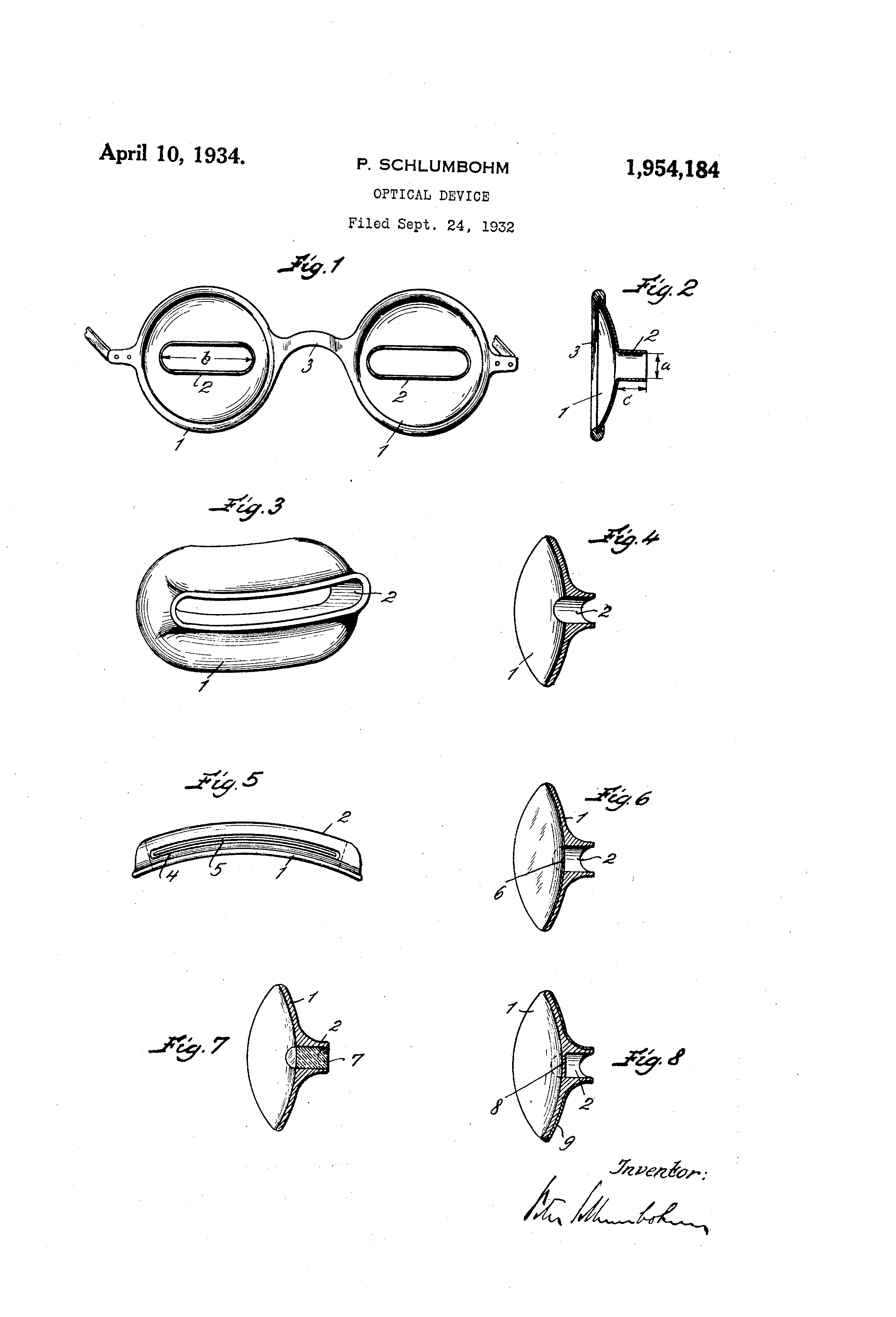 Patent drawing for Tubascope sunglasses, patent filed September 24th 1932.