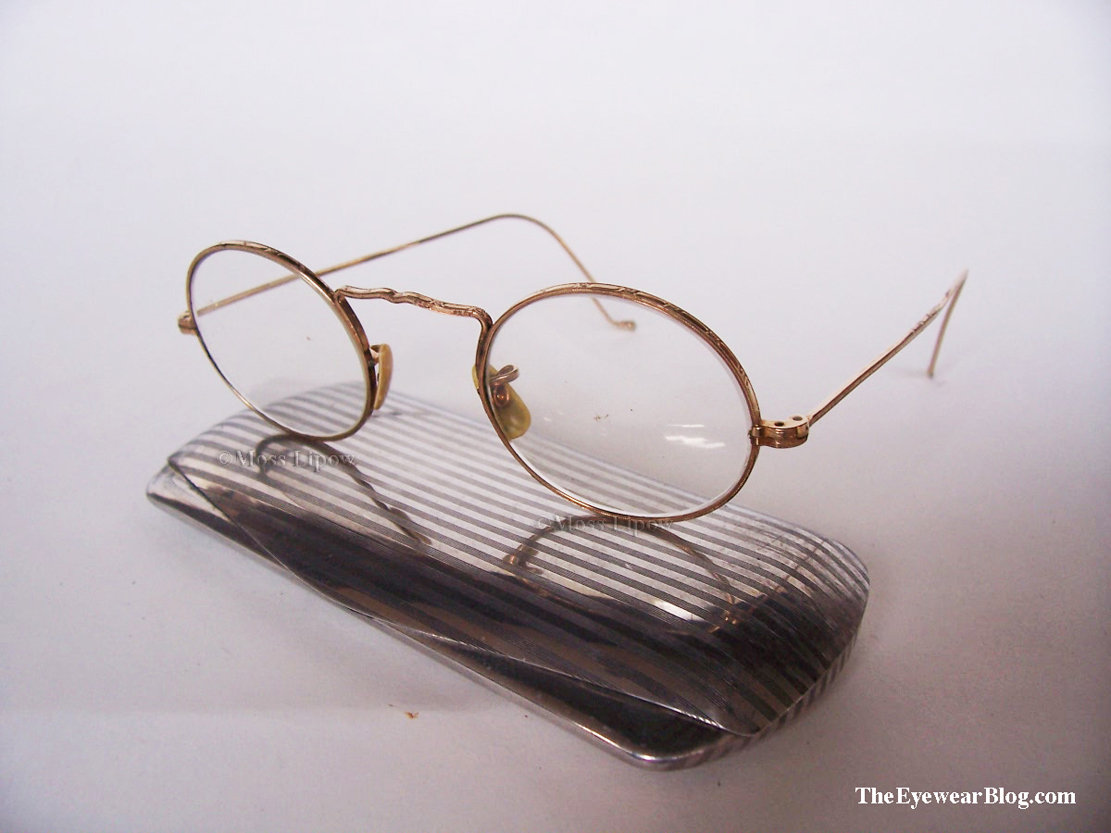 American Optical Cortland circa 1930s with aluminum Art Deco Eyeglass Case.