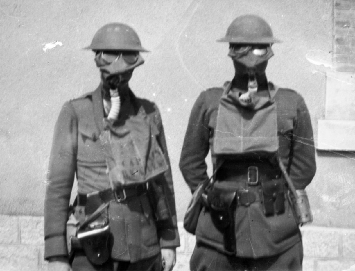 British Troops with Small Box Respirator type gas masks, circa 1917.