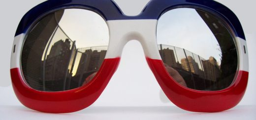 Very large Paulette Guinet sunglasses in red white and blue, circa 1976.   Photographed by Moss Lipow.