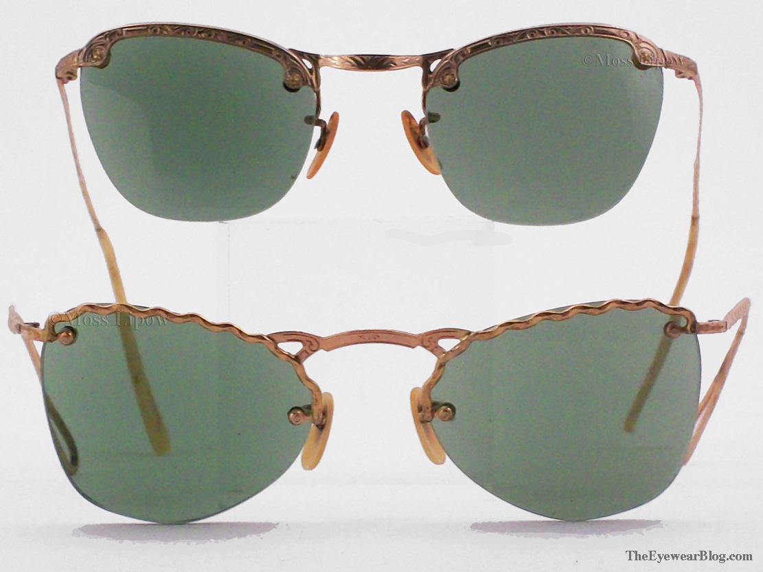 2 pair of stamped, 12K gold filled eyglass frames with green sun lenses, circa 1950s.