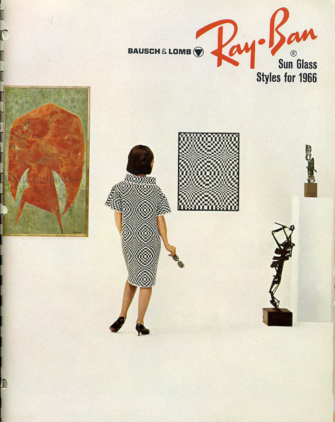 Cover of 1966 Ray Ban catalogue.   The influence of the 1965 MoMA Op-Art show is obvious.
