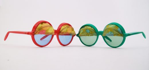 Vintage sunglasses with floral print awnings, circa 1967 Netherlands.