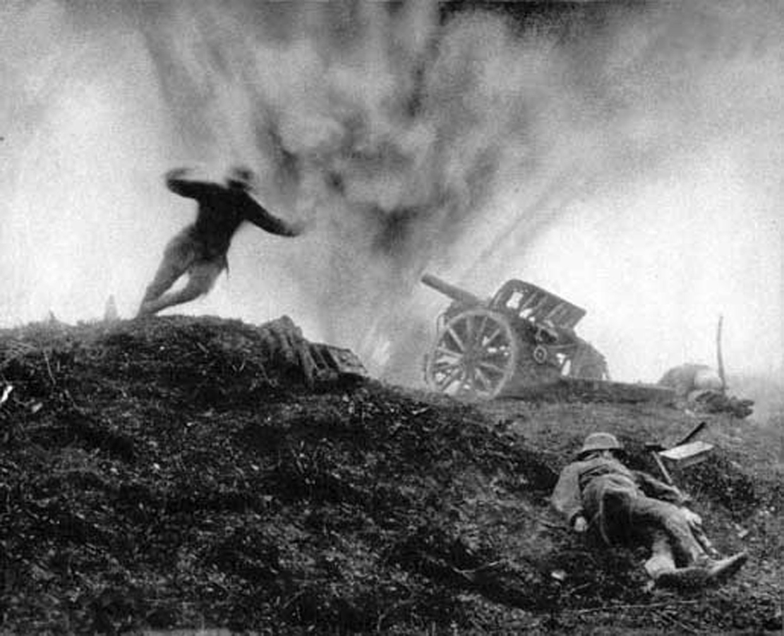 German Soldier diving out of way of exploding shell on Western Front of WWI circa 1917.