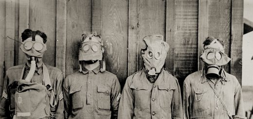 Four different types of gas masks employed during the first world war.