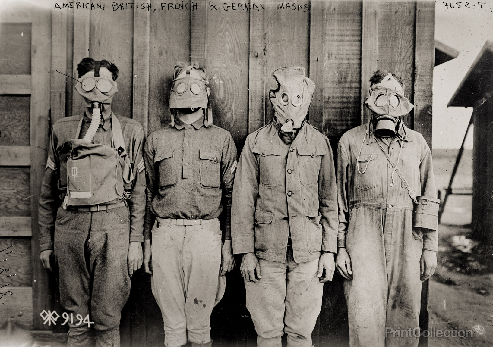 Gas masks from various periods during WWI.   The third from right is an early British PH mask.
