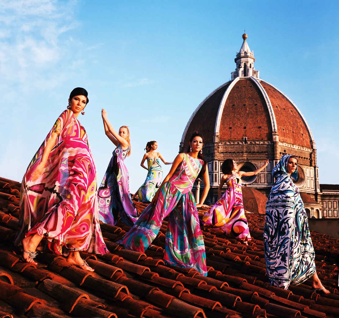 Models on roof of the Palazzo Pucci wearing the Spring/Summer 1967 collection.