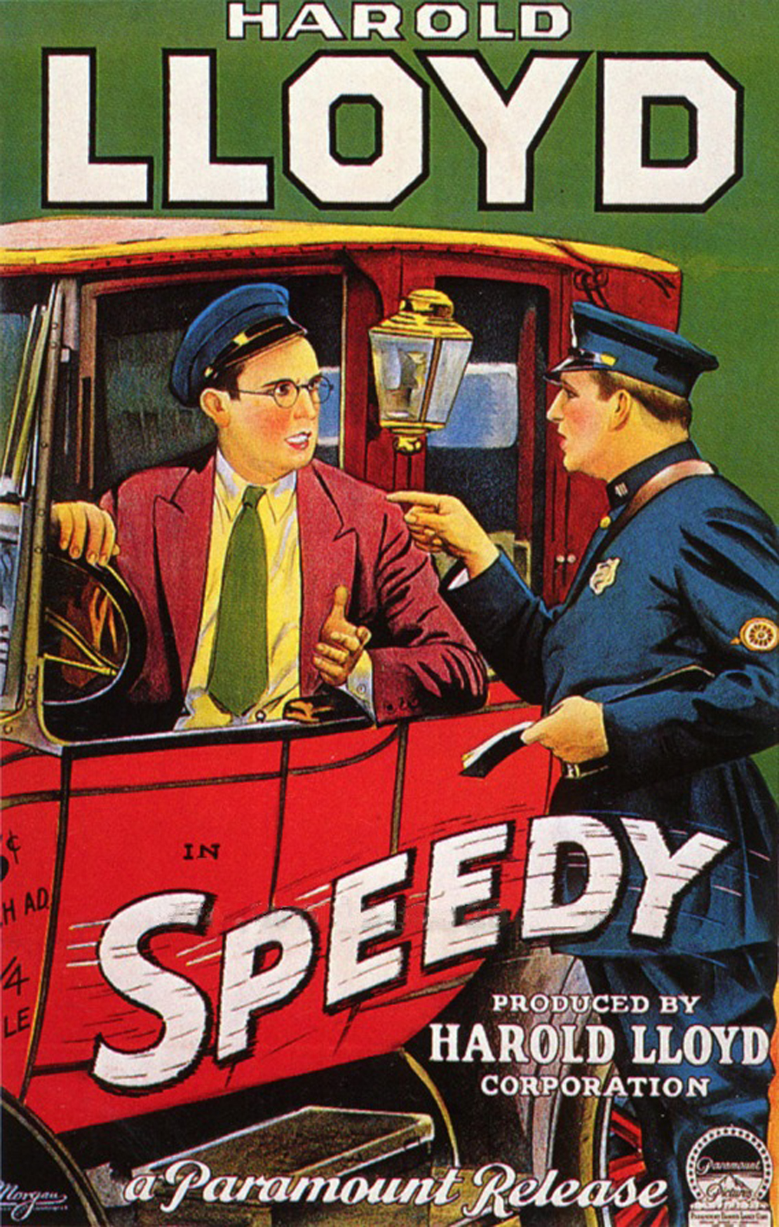 "Harold Lloyd as depicted in a poster for his film ""Speedy"" (1928)."
