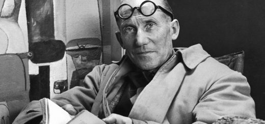 Le Corbusier wearing his glasses over his third eye and fourth eye.